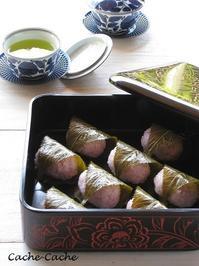桜餅を作って、お重に詰めて♪ - Cache-Cache+