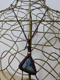 【マクラメ&ヘンプ】#113 グリーンジャスパーのネックレス - Shop Gramali Rabiya   (SGR)