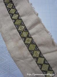 自宅使い 手帳用背表紙の菱刺し2 - ロシアから白樺細工