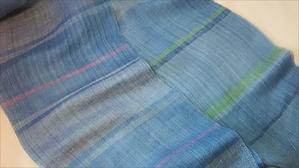 リネンシルクマフラ-織り上がりました - 手織とペットと静かな暮らし oricago