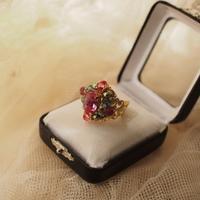 クラシカルカボションリング〈薔薇ピンク〉〈銀古美ホワイトパティナ〉 - Labra ~stones and beads~