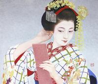 日本画 「粧」10F 45.5×53,0㎝ 岩絵の具、金箔、プラチナ箔,紙本 モデル 祇をん 紗月ちゃん - 黒川雅子のデッサン  BLOG版