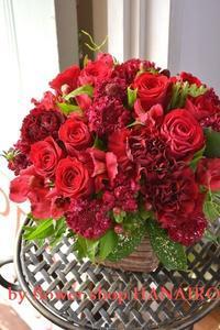 母の日に♪真っ赤なお花でフラワーアレンジメント。 - 花色~あなたの好きなお花屋さんになりたい~