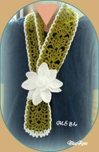 お花のミニストール仕上がりました♪ - ルーマニアン・マクラメに魅せられて