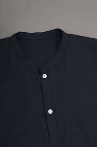ゴーシュ  Light Khadi Band Collar Shirt (Navy) - un.regard.moderne