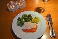 鶏むね肉のポシェ トマトソース添え/ミックスサラダ/美生柑のバジルソース和え - まほろば日記
