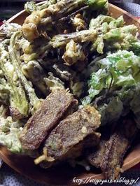 山菜と蒟蒻の天婦羅 - これ旨いのか?