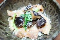 農家イタリアンarigatoと…豚バラと椎茸のガリバタ醤油丼。 - ふくしま「I-e」ごはん。