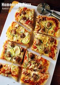 ズッキーニ麺&ソーセージのピザ - Kyoko's Backyard ~アメリカで田舎暮らし~