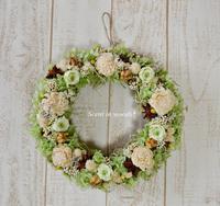 薔薇と紫陽花のグリーンリース - 花雑貨のお店 scent in woods*