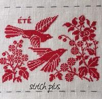 [四季の鳥」夏 ③ - 「Stitch +」 haruのクロスステッチ
