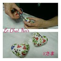本日は、ハートの石鹸にデコパージュ。 - クラフトもティータイムも楽しみましょう。東京大田区、駅前のデコパージュ教室・ソスペーゾトラスパレンテ(3Dデコパージュ)、クラフト教室Le Chat Noir(ル シャノワール)