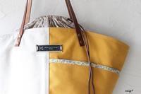 元気カラーの帆布マスタードイエローでバイカラー仕立ての巾着マルシェ♪ - neige+ 手作りのある暮らし