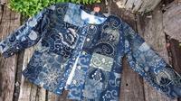 型染め ジャケット 2 - 古布や麻の葉