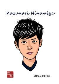二宮和成さんを描きました。(C033) - 楽しいね。似顔絵は… ヒロアキの作品館