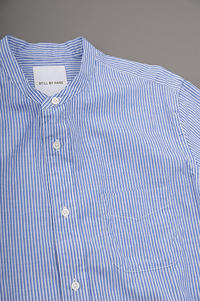 STILL BY HAND Band Collar 8/10 Shirt (Blu Stripe) - un.regard.moderne