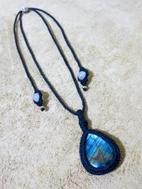 【マクラメ&ヘンプ】#118 ラブラドライトのペンダント - Shop Gramali Rabiya   (SGR)