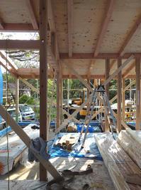 抜け感のある室内、アウトドアリビングの屋根開口 - kukka kukka