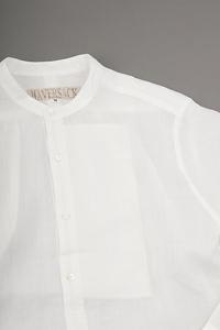 HAVERSACK  Ramie Lawn Band Collar Pullover Shirt - un.regard.moderne