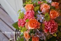 お義母さんへの贈り物♪元気カラーのフラワーアレンジメント。 - 花色~あなたの好きなお花屋さんになりたい~