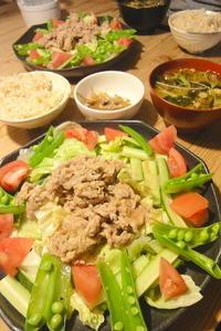 豚ロースの焼肉サラダ - 週末は晴れても、雨でも