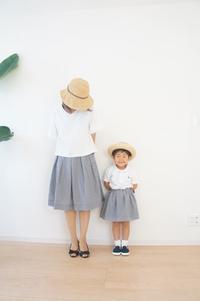 ギンガムチェック生地で親子コーデ - ハンドメイドで親子お揃い服 omusubi-five(オムスビファイブ)