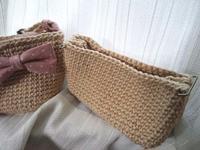 麻ひもバッグ本体編みあがり - D-E