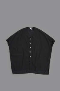 NO CONTROL AIR Cupro & Cotton Fibril Karsey Wide Shirt (Black) - un.regard.moderne