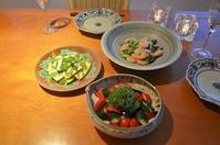 海老と葱の塩炒め/ズッキーニのミントマリネ/きゅうりとトマトのサラダ - まほろば日記