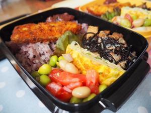 兄ちゃんとお嬢のサラ弁☆豚肉と厚揚げとひじきの炒め煮弁当 - きくまんま