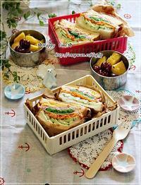 湯種食パンでわんぱくサンド弁当とバラ・アンジェラ♪ - ☆Happy time☆