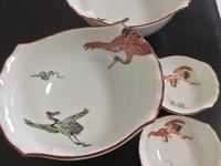 色絵 鶴文 変形鉢と小鉢 - 大正から昭和の器