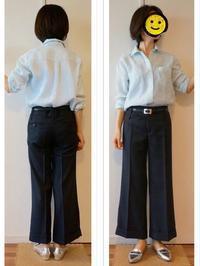 コーデ : 水色リネンシャツ&紺ワイドパンツ〈ややカジュアル〉 - Mirror Mirror...