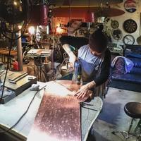 とあるお店の看板制作進行中 その2 - Studio fu-mine Copper Works