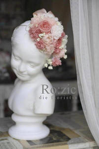 2017.5.22 お花の帽子ヘッドドレス/プリザーブドフラワー/サーモンピンク - Ro:zic die  floristin