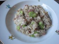 空豆と生ハムのリゾット&鞘のスープ - やせっぽちソプラノのキッチン2