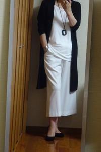 好きな白と黒のモノトーンコーディネイト、新しいネックレスをつけて - おしゃれ自己満足日記