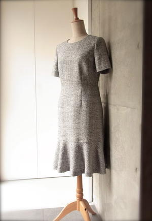 Bell Flare Tweed Dress - KeiFerida