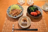 豚の生姜焼き/サラダ/中華風冷奴/あさりの味噌汁 - まほろば日記