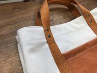 革ポケットの帆布バッグ - Pistachio green