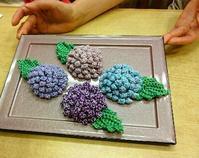 紫陽花&完成品続々♪次回は6月13日です@浅草5656編み会 - 空色テーブル  編み物レッスン&編み物カフェ