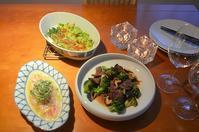 牛肉とブロッコリーのオイスターソース炒め/グリーンアスパラガスと空豆のチーズ焼き/鯛のカルパッチョ - まほろば日記