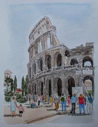イタリアの旅:ローマ・コロッセオ - オヤジの水彩画集
