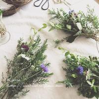 <皐月 花教室>フレッシュハーブのリース - 木草花
