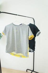 双子様に生地を選んでもらってのバタックTシャツsize130 - ハンドメイドで親子お揃い服 omusubi-five(オムスビファイブ)