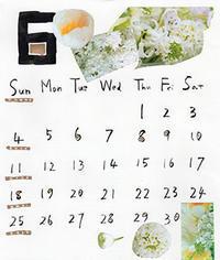 今年の花コラージュカレンダー6月。 - RT ART