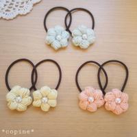 お花のヘアゴム~コットン毛糸~ - *編み物のある生活 tsukurimono*