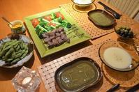冷製ヴィシソワーズ/ラムの串焼き&サラダ/キャロットドレッシング/枝豆など - まほろば日記