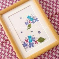 紫陽花押し花×石のハンコ - tuboniwanisaku