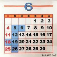 H29年6月の当店、理容室の営業日カレンダー - 金沢市 床屋/理容室/散髪  「ヘアーカット ノハラ ブログ」 メンズヘッドスパは当店で!